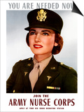 World War II Poster of a Smiling Female Officer of the US Army Medical Corps