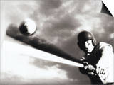 Low Angle View of a Baseball Player Swinging a Baseball Bat