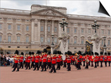 Band of Scots Guards Lead Procession from Buckingham Palace  Changing Guard  London  England