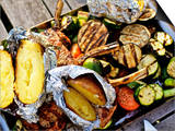 Barbecued Vegetables  Baked Potatoes  Lamb Chops on Barbecue Tray