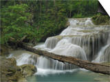 Seven Step Waterfall in the Monsoon Forest of Erawan National Park  Thailand