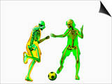 Soccer Players Showing Skeletons
