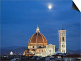 Moonrise over Florence Cathedral  Basilica Di Santa Maria Del Fiore at Dusk  Florence  Italy