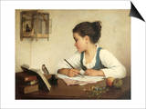 Young Girl Writing at Her Desk with Birds
