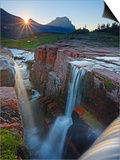 Dawn at Triple Falls  Glacier National Park  Wyoming  USA