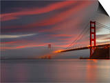 Fog over the Golden Gate Bridge at Sunset  San Francisco  California  USA