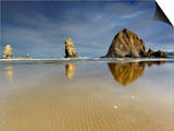 Needles and Haystack Rocks  Canon Beach  Oregon  USA