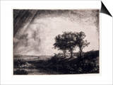 Three Trees on a Small Hillock Overlooking a Path with a Figure Sitting on a Bench  c1643