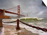 Large Storm Waves in San Francisco Bay under the Golden Gate Bridge About to Batter the Shore