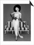 Model in John Cavanagh's Strapless Evening Gown  Spring 1957