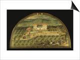 Villa La Peggio  Tuscany  Italy  from Series of Lunettes of Tuscan Villas  1599-1602