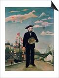 Self Portrait  from L'Ile Saint-Louis  1890