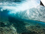 Underwater View of a Wave Crashing over a Coral Reef  Yap  Micronesia