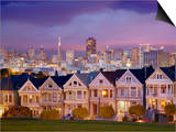 Alamo Square and the Victorian Style Painted Ladies Homes  San Francisco  California  USA