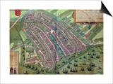 "Map of Amsterdam  from ""Civitates Orbis Terrarum"" by Georg Braun and Frans Hogenburg  circa 1572"