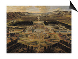 Perspective View of the Gardens and Chateau of Versailles Seen from the Paris Avenue  1668