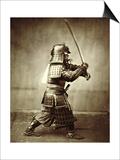 Samurai with Raised Sword  circa 1860