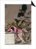"""The Sleep of Reason Produces Monsters  Plate 43 of """"Los Caprichos """" Published circa 1810"""