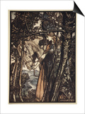 Brunnhilde silently leads horse down path to cave  illustration  'The Rhinegold and the Valkyrie'