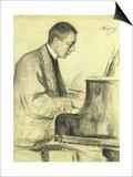 Portrait of Sergei Vasilievich Rachmaninov at the Piano  1916