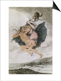 Alla Va Eso (There it Goes)  Plate 66 of 'Los Caprichos'  Late 18th (Colour Engraving)
