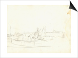 Sailing Boats Leaving a Port (Pencil on Paper)