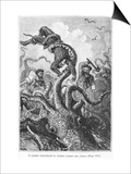 "The Octopus Attacking the Nautilus  Illustration from ""20 000 Leagues under the Sea"""