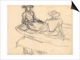 Young Girls on a Boat (Pencil on Paper)