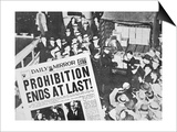 Headline Declaring the End of Prohibition  6th December  1933