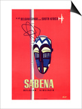 Advertising Sabena Belgian Airlines  printed at Litho Linsmo  c1955