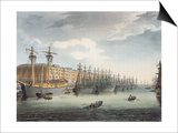 West India Docks  1809 (Coloured Engraving)