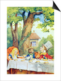 The Mad Hatter's Tea Party  Illustration from Alice in Wonderland by Lewis Carroll