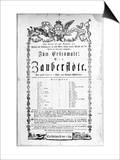 """Poster Advertising the Premiere of """"The Magic Flute"""" by Mozart at the Freihaustheater  1791"""