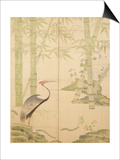 Bamboo and Crane  Edo Period (W/C on Panel)