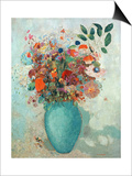 Flowers in a Turquoise Vase  C1912
