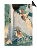 Ona Waterfall on the Kisokaido  1827 (Colour Woodblock Print)