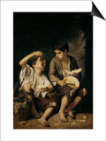 Two Children Eating a Melon and Grapes  1645-46