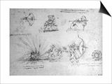 Study with Shields For Foot Soldiers and an Exploding Bomb  c1485-88