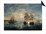 """Engagement Between the """"Bonhomme Richard"""" and the """"Serapis"""" Off Flamborough Head  1779"""