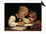 Boy Writing with His Sister  1875