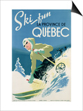 Poster Advertising Skiing Holidays in the Province of Quebec  c1938