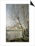 Mantes  View of the Cathedral and Town Through the Trees  c1865-70