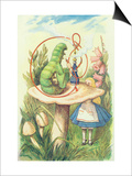 Alice Meets the Caterpillar  Illustration from Alice in Wonderland by Lewis Carroll