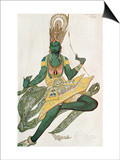 Costume Design for Nijinsky (1889-1950) for His Role as the 'Blue God'  1911 (W/C on Paper)