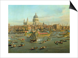 The River Thames with St Paul's Cathedral on Lord Mayor's Day  Detail of St Paul's Cathedral