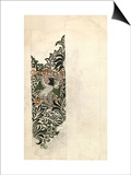 Unfinished 'Bird and Vine' Wood Block Design for Wallpaper  1878 (Pencil and W/C on Paper)