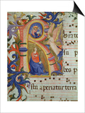 The Annunciation Depicted in an Historiated Initial 'R'  Detail from a Missal  c1430