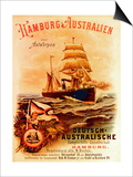 Hamburg - Australia'  Poster Advertising the German Australian Steamship Company  1889