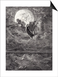 A Voyage to the Moon  from 'The Adventures of Baron Munchausen' by Rudolph Erich Raspe  Engraved