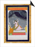 A Lady on a Swing  Kangra  Punjab Hills C1790 (Opaque W/C on Paper)
